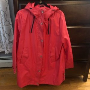 Hooded Nautica raincoat.